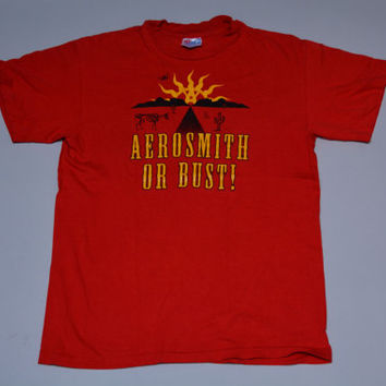 Vintage Red  Aerosmith or Bust Tour T-Shirt - 1994 AFI Road Trip Soft Cotton Obscure Tee Size M Medium