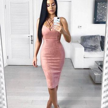 Pink Suede - Women Bandage Bodycon Slim Sleeveless Evening Party Cocktail Pencil Midi Dress