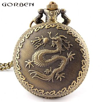 Gorben Watch Retro Chinese Zodiac Bronze Dragon Quartz Pocket Watch Unique Men Women Watch Vintage Gifts With Long Chain P88