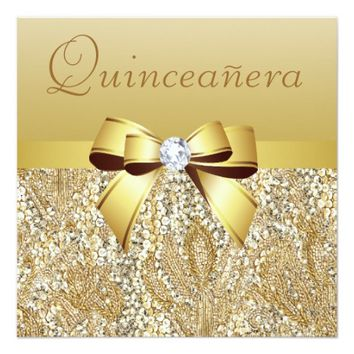 Gold Sequins, Bow & Diamond Quinceanera Invitation