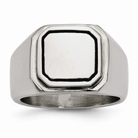 Men's Stainless Steel Black Enameled Ring - Engravable Personalized Gift Item: RingSize: 9