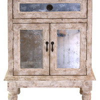 Antiqued Mirror Bedside Chest - Farmhouse - Dressers Chests And Bedroom Armoires - by Bliss Home & Design