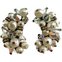 Laguna  Earrings Pearls and Crystals Ear Climbers Signed