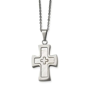 Stainless Steel Polished Mother Of Pearl Cross Necklace 3e33c70bbd