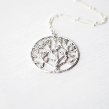 193 Silver Tree of Life Necklace with Sterling Silver Satellite Chain - dainty minimalist jewelry by lustre