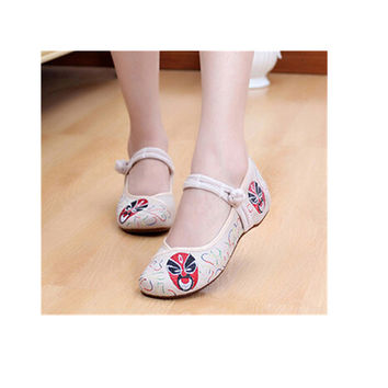 Vintage Chinese Embroidered Floral Shoes Women Ballerina Mary Jane Flat Ballet Cotton Loafer Beige