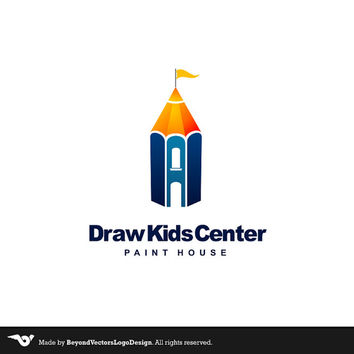Draw Center Premade Logo, Draw Kids Center, Kids Logo, Draw Kids Logo, Pensil Logo, Draw Lessons Logo