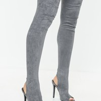 Missguided - Gray Peeptoe Over The Knee Boots