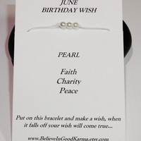June Birthday Wish Bracelet or Anklet - Pearl - Happy Birthday Gift
