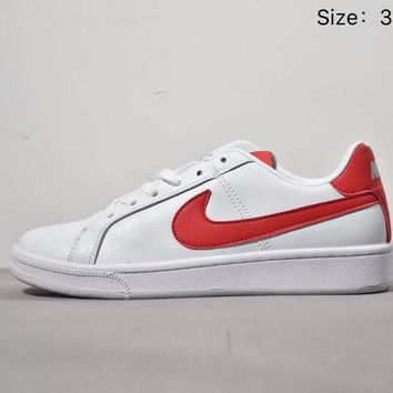 NIKE Tennis Classic PRM Popular Unisex Leather Low Help Sport Sneakers Board Shoes White(Red Hook) I-AA-SDDSL-KHZHXMKH