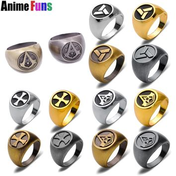 12 Style Assassins Creed Ring Ezio Templar Order Abstergo Connor Desmond Jewelry Charm Souvenir Gift Punk ring drop-shipping