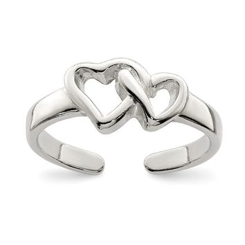 Dual Open Heart Toe Ring in Polished Sterling Silver