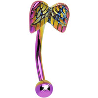 16 Gauge 10mm Pink and Yellow Anodized Titanium Angel Wings Eyebrow Ring