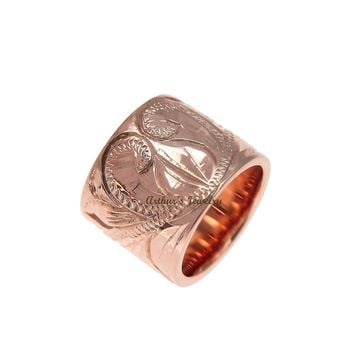 SOLID 14K ROSE GOLD HAND ENGRAVED HAWAIIAN SCROLL BARREL TUBE PENDANT 7.8MM