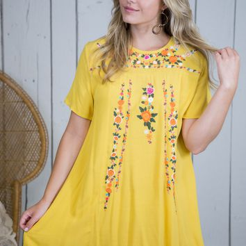 Phoenix Embroidered Dress, Honey