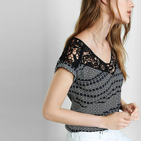 Lace Yoke Circle Print Rolled Sleeve Blouse from EXPRESS