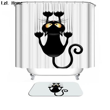 LzL Home Bath Curtain For Bathroom Custom Funny Christmas Shower Curtain 3d  Modern Cat Waterproof Fabric Hooks Home Decoration