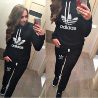 """Multi-color """"adidas"""" Letter & Logo Print Casual Pullover Set [11004757959]"""