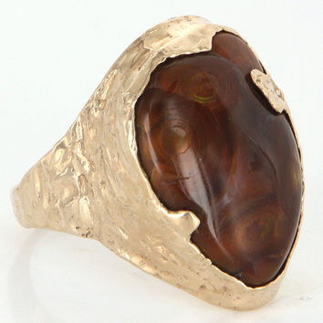 Vintage 14 Karat Yellow Gold Fire Agate Handmade Mens Cocktail Ring Estate