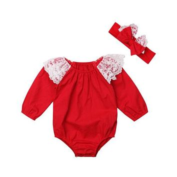 Christmas Lace Romper with Headband