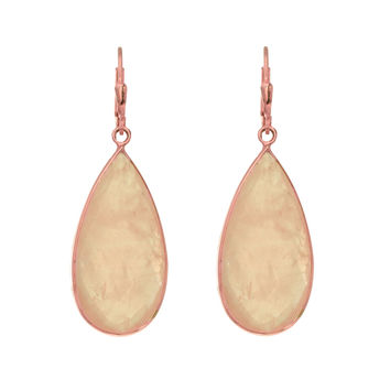 Long Teardrop Faceted Rose Quartz Earrings Set In Rose Plated Sterling Silver