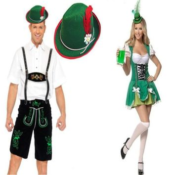 Carnival Oktoberfest Festival German Beer Maid Costume Plus Dress Lovers Couple Beer Men Lederhosen Halloween Costume Cosplay