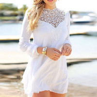 White Lace Sleeve Chiffon Mini Dress