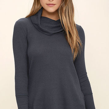 Olive & Oak Willis Navy Blue Long Sleeve Top