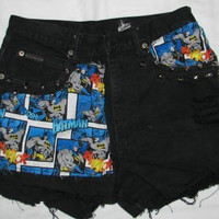 Batman Patch Rag Distressed High Waisted spike Studded Vintage Cut off Denim Shorts