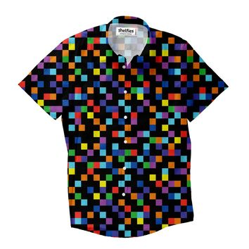 Pixel Short-Sleeve Button Down Shirt