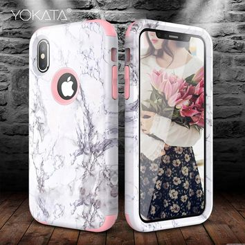YOKATA Marble Bumper Case for iPhone 7 6 6s 8 Plus Hard Cover PC Silicone for iPhone 5 SE Xs 360 Case Cute Unicorn 3 in 1 Funda