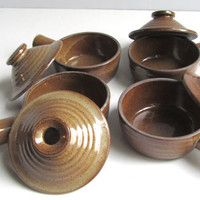 Danish Modern Caquelon Earthenware Pottery Bowls