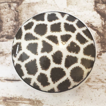Giraffe Print Wood Knobs Drawer Pulls, Espresso Animal Print Cabinet Pull Handles, Wildlife Dresser Knobs, Zoo, Nursery Knobs, Made To Order