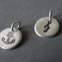 Sterling Silver Charm Pendants Hand Stamped Charm Anchor Charm Treble Clef Charm by SteamyLab