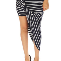 Striped Twisted Unbalanced Skirt - Black/White
