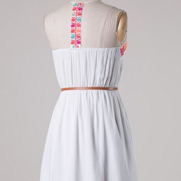 White Embriorded Dress