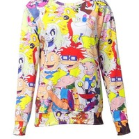 Ninimour- Women's Colorful Patterns Print Roll Neck Pullover Sweatshirt Sweaters