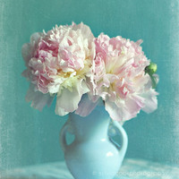 "Shabby chic home decor, ""Sweetness"" pink peonies, spring home decor, floral photography, pastel photograph, pink, aqua"