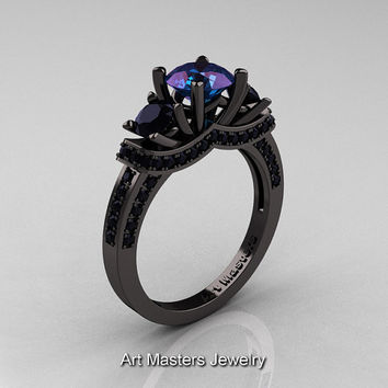 Not for Tasteless - French 14K Black Gold Three Stone Chrisoberyl Alexandrite Black Diamond Wedding Ring, Engagement Ring R182-14KBGBDAL