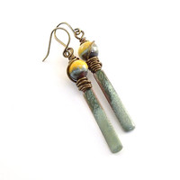Earrings Rustic Green and Yellow Enameled With Antique Brass