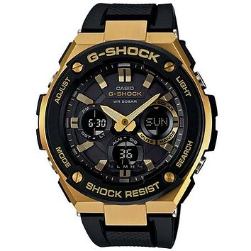 Casio Mens G-Shock G-Steel Solar Watch - Ana-Digi - Gold Accents - Black Strap