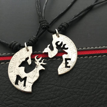 Buck and doe necklaces made with half dollar coins personalized with initials