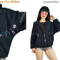 25%SALE vintage 90s black jacket embroidered floral print pastel soft grunge slouchy zip up bomber jacket coat 1990s southwestern small medi