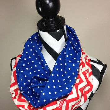 Red White and Blue Scarf, Chevron Scarf, Polka Dot Scarf, Tube Scarf, Loop Scarf