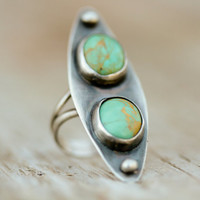 Dual Turquoise Ethically Sourced Marquis Ring Set in Recycled Non Conflict Sterling Oxidized Bezel & Setting - Boho - Beachcomber Collection