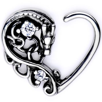 "16 Gauge 3/8"" Clear CZ Gem Dragon Den Right Heart Closure Ring"