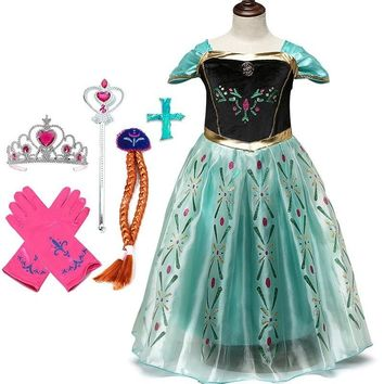 Disney Princess Dress Set Frozen Anna Elsa Dress Party Christmas Festival Clothing Set Snow White Kids Girls Cosplay Costumes
