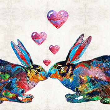 Bunny Rabbit Art Print from Painting Colorful Rabbits Bunnies Love Lovers Hearts Romance Romantic CANVAS Ready 2 Hang Large Artwork Kissing