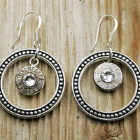 Dotted Circle 40 S&W Bullet Earrings