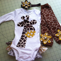 Gia the Giraffe Rufflebum Outfit with Matching Legwarmers and Headband